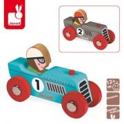 JANOD Wyścigówka drewniana Retromotor (niebieska lub srebrna),
