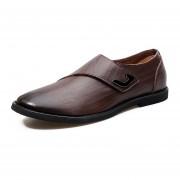 Mocasines Zapatos De Hombre De Negocios De Dermis De Respirable De Moda -Marrón
