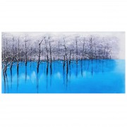 Ölgemälde Blauer See, 100% handgemaltes Wandbild Gemälde XL, 140x70cm ~ Variantenangebot