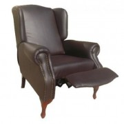 Carla Pushback Wingback Chair Brown Bonded Leather (PU)