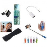 (S09) Combo of Selfie Stick Finger Grip Cleaning Spray Splitter Cable and OTG Adopter (Assorted Colors)