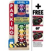 Wooden Stack & Count Parking Garage Classic Toy + FREE Melissa & Doug Scratch Art Mini-Pad Bundle [51828]
