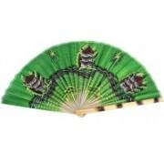 Folks Handcrafts Foldable Self Design Green Hand Fan(Pack of 1)