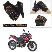 AutoStark Gloves KTM Bike Riding Gloves Orange and Black Riding Gloves Free Size For Bajaj Pulsar 200 NS DTS-i