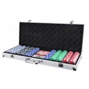 500 ks žetonů poker set s příslušenstvímv kufru