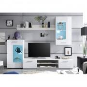 Nappali bútor, fehér extra magasfényű high gloss/fehér, HENRI NEW