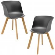 [en.casa]® Комплект от 2 бр. тапицирани столове Rotterdam, с подлакътници 75 x 55,5 cm, Сив