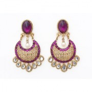 Indian Style Beaded Dangle Drop Fashionable Earrings Traditional Jhumka Jhumki Earrings for Women 16 PURPLE