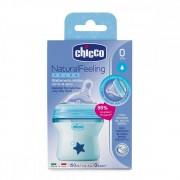 Biberon Chicco Natural Feeling plastic bleu 150ml t.s. inclinata 0luni+ flux normal 0BPA
