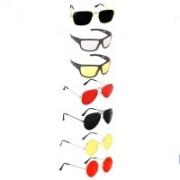 SRPM Aviator, Round, Retro Square, Wayfarer Sunglasses(Black, Clear, Yellow, Red, Yellow)