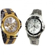 GOLDEN BLACK + SILVER ROSARA SIGNATURE DESIGN COMBO WATCH by 7 star