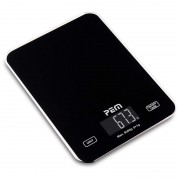 Cantar bucatarie Pem, sticla, ecran digital retroiluminat, maxim 5 kg, baterii incluse