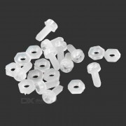 Nylon M2 tornillos + Tuercas fijado para R / C Juguetes - Blanco (20PCS)