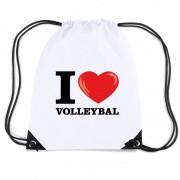 Shoppartners Nylon I love volleybal rugzak wit met rijgkoord