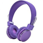 UEB Bluetooth Wireless BT Stereo Microphone Headphone with Hands-free Calling Function Audio Cable Foldable Stereo Sound Earphones Built-in Microphone Purple