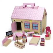 Wooden Wonders Take-Along Country Cottage Folding Dollhouse with 13 Pieces of Furniture by Imagination Generation