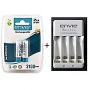 Envie Beetle charger ECR-20 + 2 AA 2100 mAh Rechargeable Batteries
