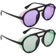NuVew Round, Shield Sunglasses(Green, Violet)