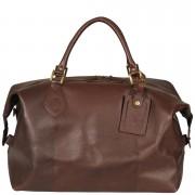 Barbour Men's Leather Medium Travel Explorer Bag - Dark Brown
