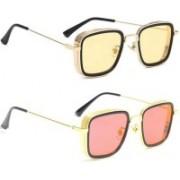 SRPM Retro Square Sunglasses(Yellow, Pink)