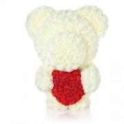 Ursulet din trandafiri albi de sapun cu inima rosie, in cutie cadou cu funda, 55 cm (Culoare bijuterii: White)