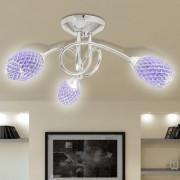 vidaXL Lâmpada teto com braços de acrílico e sombras de cristal lilás, 3 G9