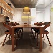 vidaXL Matstolar med träram 6 st konstläder brun