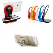 Combo of Charging Stand and Ring Mobile Holder (Assorted Colors)