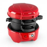 OneConcept Morning Glory, červený, 600 W, príprava toastov a mäsa do hamburgerov, nepriľnavý (TK51-Morning-Glory-R)