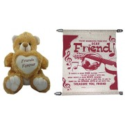 Teddy bear soft toy friend for ever & Card dear friends friends for sister /brother/women/kids /36cm by unique indian craft