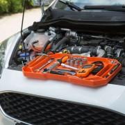 Gumi szerszámos tálca tárolórekeszekkel - fogantyúval - 53 x 29,5 x 3,5 cm - (11985C)