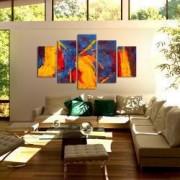 Tablou Canvas Premium Abstract Multicolor Culori Tari 1 Decoratiuni Moderne pentru Casa 120 x 225 cm