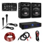 "Electronic-Star HiFi DJ PA парти сет, усилвател, 2 х 12 ""високоговорител, миксер, 2 микрофона (10034289+2*213)"