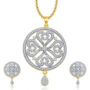 Sukkhi Dangling Gold And Rhodium Plated CZ Pendant Set For Women