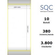 Etichette SQC - polipropilene opaco (bobina), formato 104 x 210