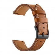 Top-layer Genuine Leather Watch Strap Replacement for Garmin Vivoactive 3/Vivomove HR - Brown