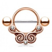 Tepelpiercing rose gold plated swirl met steentjes