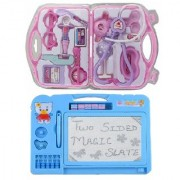 combo of Kids Drawing Writing Double Side magic Slate with fordable doctor play set (multicolor)