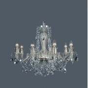 Lustra 8 brate cristal Bohemia, silver/ aquamarine