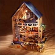 Hoomeda DIY Wood Romantic Aegean Sea Dollhouse Miniature With LED Music Furniture Doll House