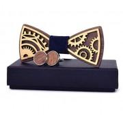 Dřevěný motýlek s manžetovými knoflíčky Gaira 709093