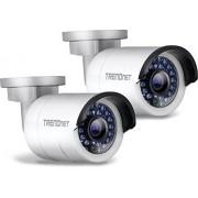 TRENDnet Outdoor 1,3 MP 720p HD PoE IR netwerkcamera, pak, ip66, stiftkamera, 30 m nachtzicht, IR, 100 ft, bevat 2 TV-ip320pi camera 's, TV-ip320pi2 K