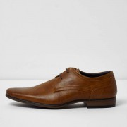 River Island Mens Tan pointed formal lace-up shoes (Size 9)