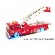 17' Rescue Fire Engine Children's Kid's Bump and Go Toy Fire Truck w/ Flashing Lights Sounds w Extending Ladder