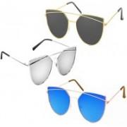 Sulit Cat-eye Sunglasses(Black, Silver, Blue)