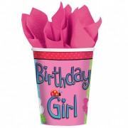 Pahare Birthday Girl Party de 266 ml - set de 8 pahare party