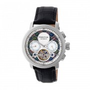 Heritor Automatic Aura Men's Semi-Skeleton Leather-Band Watch - Silver/White HERHR3504