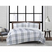 London Fog Kent Plaid 3-Piece Multi-Colored Full/Queen Comforter Set, White and Blue
