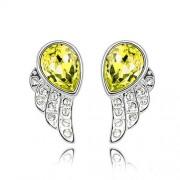 Sárga kristályos angyalszárny fülbevaló