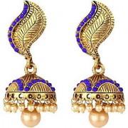 Jewels Gold Alloy Elegant Trendy Multi Designer Latest Hanging Jhumka Jhumki Earring Set For Women